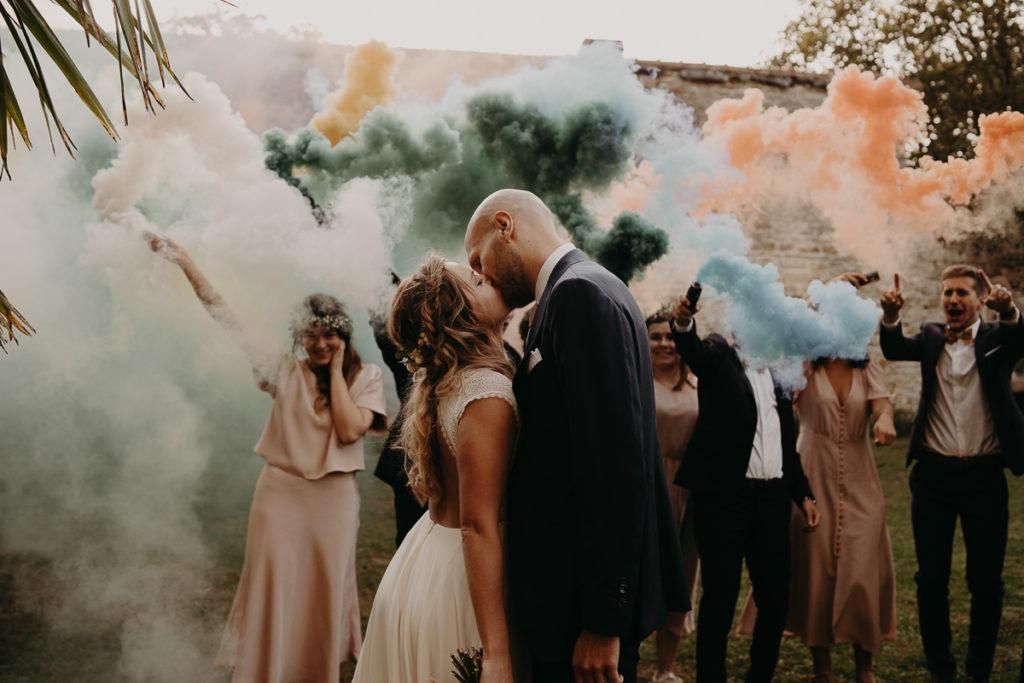 mariage bretagne fumigène